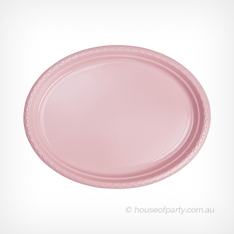 Oval Large Plates Plastic Light Pink House Of Party
