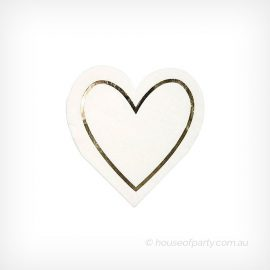 Napkins heart white with metallic gold outline Meri Meri