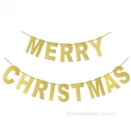 Merry christmas gold glitter banner