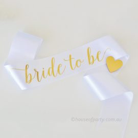 Bride to be White and gold sash with gold heart brooch